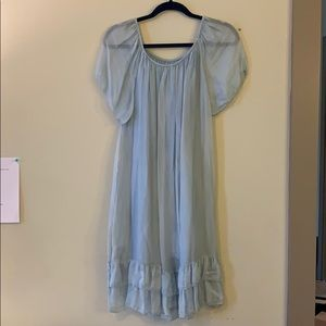 Silk pale icy blue dress, size 4-6